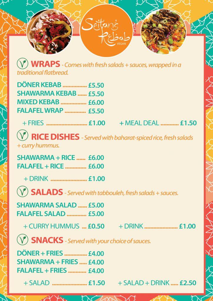 seitans kebab menu manchester university